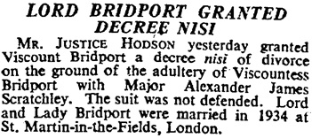 """Lord Bridport Granted Decree Nisi,"" The Times (London, England), June 2, 1945; page 8."