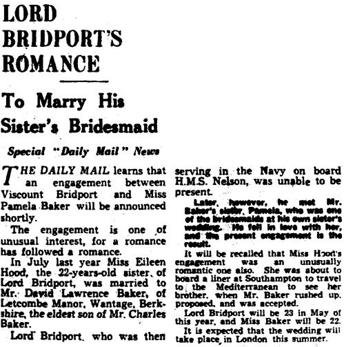 "Lord Bridport's Romance, Special ""Daily Mail"" News, Daily Mail (London, England), April 26, 1934, page 13."