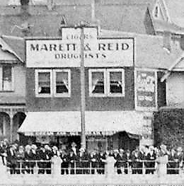 Marett & Reid, Druggists, about 1909, detail from English Bay Beach, Vancouver City Archives, Be P31.3; http://searcharchives.vancouver.ca/english-bay-beach-7.
