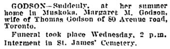 Toronto Globe, September 22, 1911, page 8, column 7.