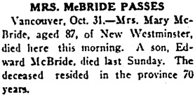 Nanaimo Daily News, October 31, 1931, page 1, column 5.