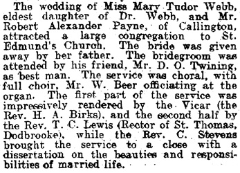 Births, Deaths, Marriages and Obituaries, Devon and Exeter Daily Gazette (Exeter, England), Issue 19466, April 16, 1909, page 11.