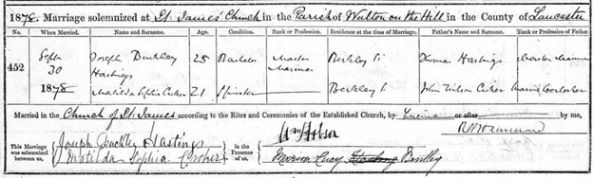 Ancestry.com. Liverpool, England, Church of England Marriages and Banns, 1754-1932 [database on-line]. Provo, UT, USA: Ancestry.com Operations, Inc., 2011. Liverpool Record Office; Liverpool, England; Reference Number: 283 JAM/3/15. Name: Matilda Sophia Arker [Matilda Sophia Croker]; Gender: Female; Marriage Age: 21; Event Type: Marriage; Birth Year: abt 1857; Marriage Date: 30 Sep 1878; Marriage Place: Toxteth, St James, Lancashire, England; Father: John Wilson Arker [Croker]; Spouse: Joseph Buckley Hastings.