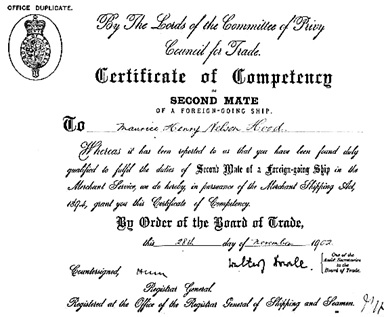 Ancestry.com. UK and Ireland, Masters and Mates Certificates, 1850-1927 [database on-line]. Provo, UT, USA: Ancestry.com Operations, Inc., 2012. Original data: Master's Certificates. Greenwich, London, UK: National Maritime Museum. Name: Maurice Henry Nelson Hood; Estimated Age: 21; Birth Date: 1881; Birth Place: Chard, Somerset; Issue Date: 18 Dec 1902; Issue Port: London; Certificate Number: 037313.