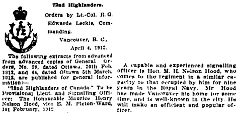 Vancouver Daily World, April 6, 1912, page 12, columns 1 and 3.