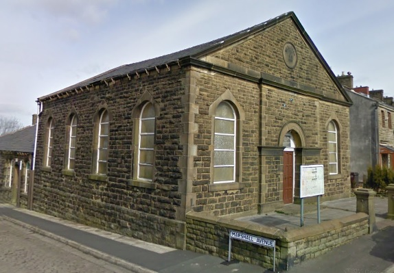 Methodist Church (Wesleyan Chapel, 1869), northeast corner of Station Street and Marshall Avenue, Huncoat, Accrington, Lancashire; Google Streets, searched August 13, 2018; image dated March 2009.
