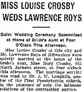 Janesville Daily Gazette, Janesville, Wisconsin, January 9, 1912, page 5, column 2 [portion of article].