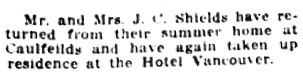 Personal Notes; Social Events, Vancouver Daily World, September 20, 1918, page 6, column 4.