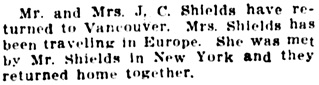 Vancouver Daily World, December 19, 1912, page 9, column 5.
