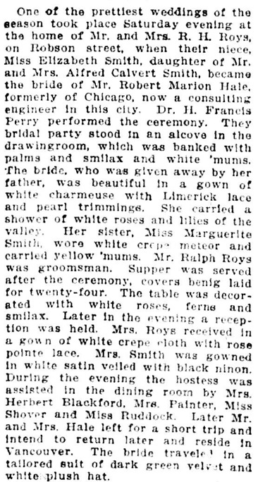Vancouver Daily World, December 30, 1912, page 9. Similar stories in Vancouver Sun, December 30, 1912, page 7; Vancouver Province, December 30, 1912, page 8 (includes address of 1875 Robson Street).
