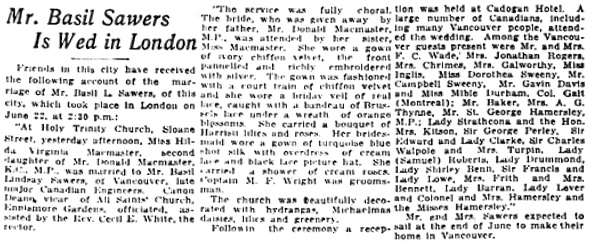 Vancouver Daily World, July 12, 1920, page 6, columns 5-6.