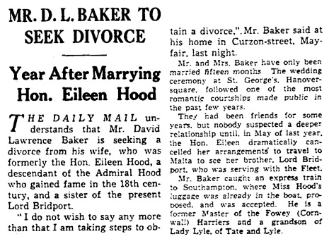 """Mr. D. L. Baker to Seek Divorce,"" Daily Mail (London, England), October 24, 1934, page 13."