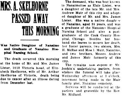 Nanaimo Daily News, March 20, 1923, page 1, column 5.
