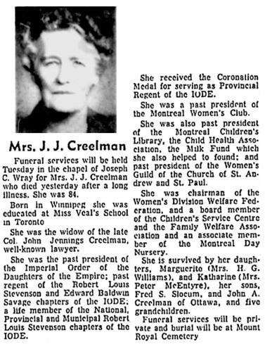 Montreal Gazette, September 27, 1965, page 47, column 3; https://news.google.com/newspapers?id=dqUtAAAAIBAJ&sjid=h58FAAAAIBAJ&pg=6445%2C5862021 [link leads to page 46; obituary is on page 46, column 3].