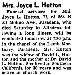The Los Angeles Times, May 19, 1952, page 27, column 1.