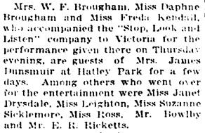 Society, Vancouver Daily World, Saturday, May 8, 1915, page 5, column 5.