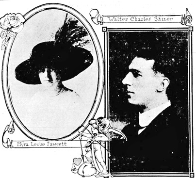 Myra Louise Fawcett and Walter Charles Shiner, Victoria Daily Colonist, October 10, 1912, page 8; http://archive.org/stream/dailycolonist57256uvic#page/n7/mode/1up.