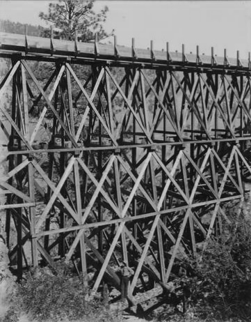 One of the high trestles - Snohoosh Flume; The British Columbia Development Association Limited, 1910, https://open.library.ubc.ca/collections/langmann/items/1.0053381#p22z-6r0f: