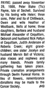 Sunshine Coast News, December 8, 1986, page 19, column 2; https://open.library.ubc.ca/collections/bcnewspapers/xcoastnews/items/1.0172438#p18z-3r0f: