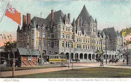 Place Viger Hotel and Canadian Pacific Railway Station, about 1907; https://www.hippostcard.com/uploads/8d974d25070a90f1b21fed933d192a21.jpg.