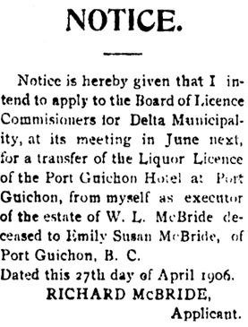 The Delta Times (Ladner, British Columbia), May 12, 1906, page 4 column 4; https://open.library.ubc.ca/collections/bcnewspapers/delttime/items/1.0080249#p3z-1r0f:
