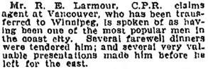 Manitoba Morning Free Press (Winnipeg), January 21, 1905, page 20, column 2.