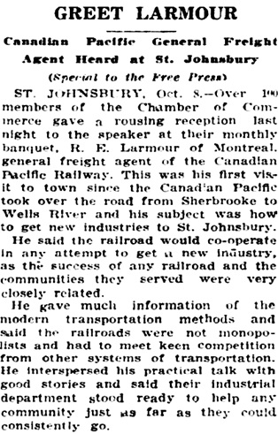 The Burlington Free Press (Burlington, Vermont), October 9, 1926, page 2, column 3.