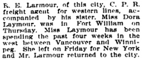 The Winnipeg Tribune, August 5, 1905, page 5, column 6.
