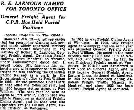 Toronto Globe, January 14, 1932, page 2, column 2.