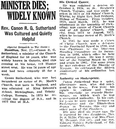 Toronto Globe, November 28, 1921, page 3, column 3.