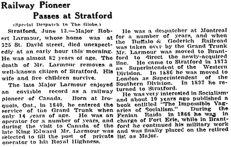 """Railway Pioneer Passes at Stratford,"" Toronto Globe, June 14, 1921, page 11, column 4."