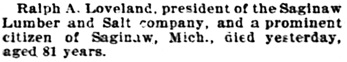 Obituary, The Inter Ocean, Chicago, Illinois, November 10, 1899, page 4, column 2.
