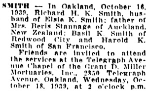 Oakland Tribune (Oakland, California); October 17, 1939, page 29, column 3.