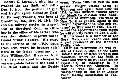 """Promotions, Changes and Retirements,"" Winnipeg Tribune, December 16, 1933, page 5, column 3."