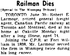 Winnipeg Tribune, June 30, 1942, page 13, column 4.