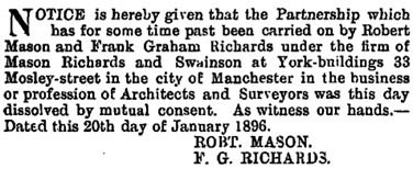 The London Gazette, January 24, 1896, page 445; https://www.thegazette.co.uk/London/issue/26703/page/445.