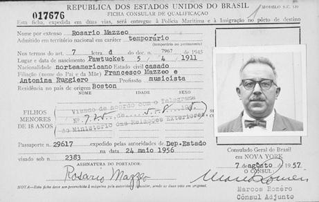 """""""Brasil, Cartões de Imigração, 1900-1965,"""" database with images, FamilySearch (https://familysearch.org/ark:/61903/1:1:KC6H-ZJQ : 5 August 2017), Rosario Mazzeo, Immigration; citing 1957, Arquivo Nacional, Rio de Janeiro (National Archives, Rio de Janeiro)."""