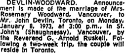 Toronto Globe and Mail, January 9, 1973, page 10, column 3.