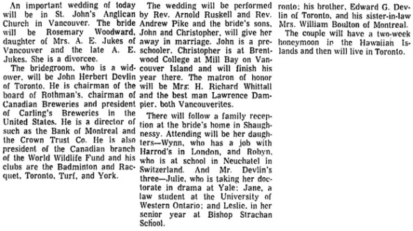 """After A Fashion: Church ceremony Precedes Court Opening,"" by Zena Cherry, Toronto Globe and Mail, January 8, 1973, page 12, columns 4-6."