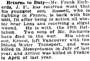 Vancouver Daily World, April 4, 1918, page 9, column 4.