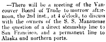 Vancouver Daily World, November 1, 1898, page 4, column 4.