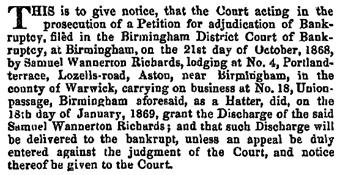 The London Gazette, January 22, 1869, page 405; https://www.thegazette.co.uk/London/issue/23461/page/405.