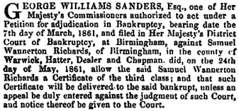 The London Gazette, May 28, 1861, page 2287; https://www.thegazette.co.uk/London/issue/22514/page/2287.