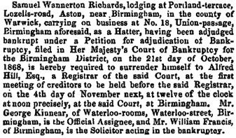 The London Gazette, October 23, 1868, page 5576; https://www.thegazette.co.uk/London/issue/23434/page/5576/data.pdf.