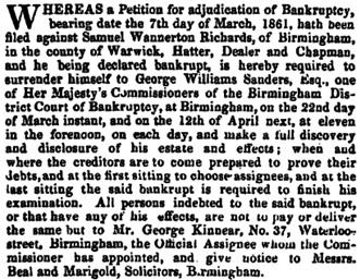 The London Gazette, March 8, 1861, page 1136; https://www.thegazette.co.uk/London/issue/22487/page/1136.