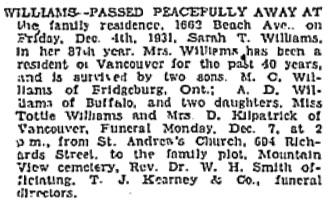 Vancouver Sun, December 5, 1931, page 26, column 1; https://news.google.com/newspapers?id=UTBlAAAAIBAJ&sjid=7ogNAAAAIBAJ&pg=2818%2C662913.