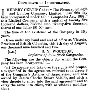 Shuswap Shingle and Lumber Company, certificate of incorporation (portion); British Columbia Gazette, August 28, 1902, pages 1411-1412; https://archive.org/stream/governmentgazett42nogove_o3z8#page/1411/mode/1up.
