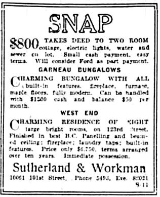Edmonton Journal, August 13, 1921, page 15, column 5.