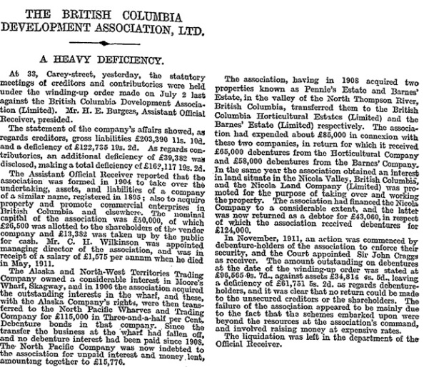 The British Columbia Development Association, Ltd., The Times (London, England), October 23, 1912; page 4.