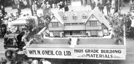 The William N. O'Neil Company Limited float [detail]; May 24, 1914; City of Vancouver Archives, CVA 1376-489; http://searcharchives.vancouver.ca/william-n-oneil-company-limited-float-in-600-block-of-granville-street-during-victoria-day-parade.